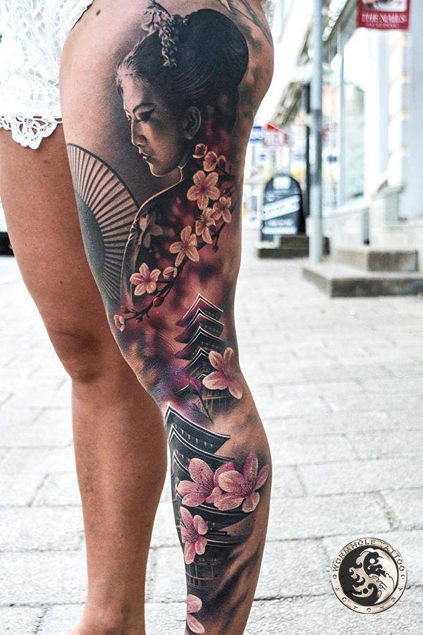 Geisha Tattoo For Women Done By Tattoo Artist Martin Sjoberg Wormhole Tattoo Best Choice For Tatto Geisha Tattoo Design Geisha Tattoo Japanese Geisha Tattoo