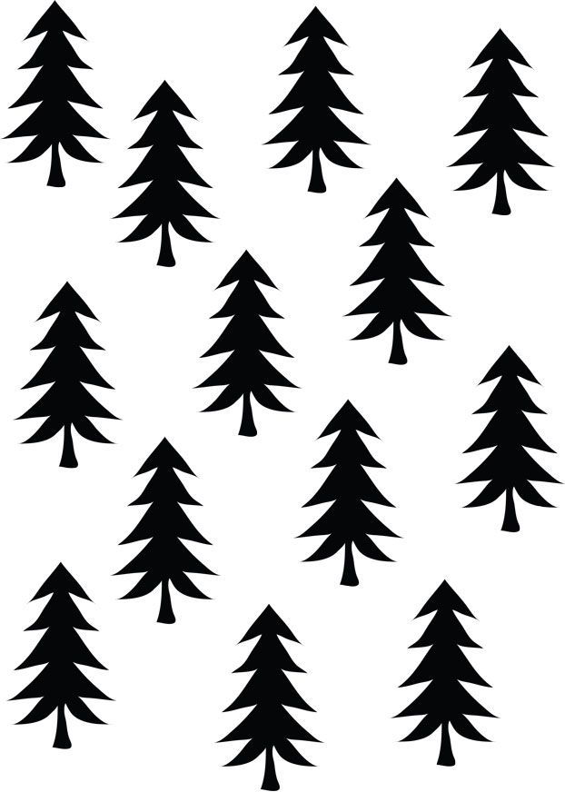 Printable - Free Download - Illustration black white - Patterns and prints - Trees Gift Wrap ❥