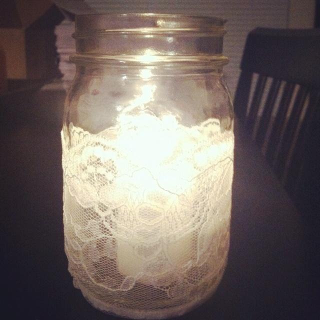 DIY Lace Mason Jars :  Lace strips from Jo-anne Fabrics Small mason jars Spray glue Small candleLace Mason Jars, Small Mason