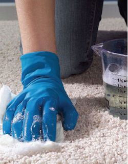 spot cleaner to use first - and you likely will - make a paste with: 1/4 cup salt 1/4 cup Borax 1/4 cup white vinegar Work this into spots and heavy traffic areas. Let it sit for several hours till it is pretty dry, then just vacuum it up.