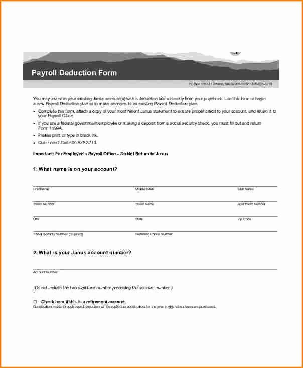 Payroll Deduction Form Template In 2020 Payroll Deduction