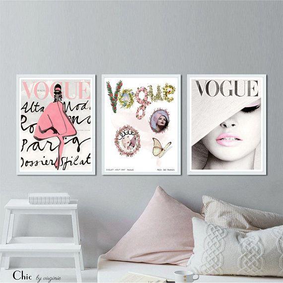 Vogue Posters Fashion Wall Art Set Of 3 Vogue Posters Fashion Wall Decor Fashion Room Fashion Wall Art