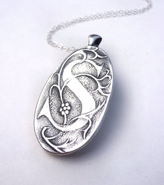 Initial S pendant made from vintage Soviet button by DreamofaDream, $75.00