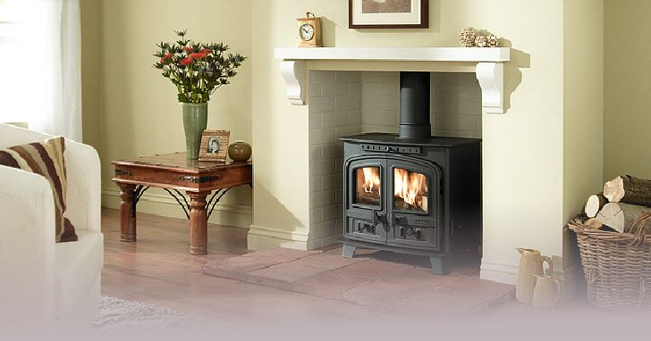 wood burning stove with mantle