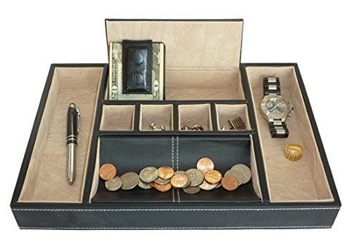 Black Leatherette Valet Tray Desk Dresser Drawer Coin Case Catch-all for Keys Phone Jewelry Watches and Accessories