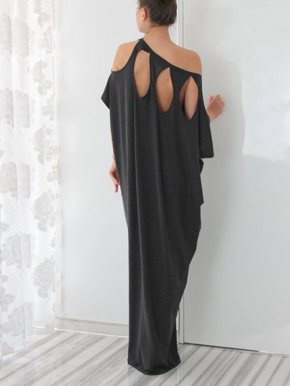 Dark Grey Open Back Maxi Plus Size by cherryblossomsdress on Etsy