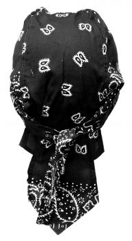 Rocker Bandana Cap - Schwarz Weiß Paisley