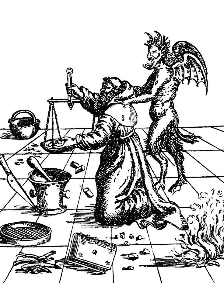 The Devil showing monk Berthold Schwarz how to make gunpowder, 1602