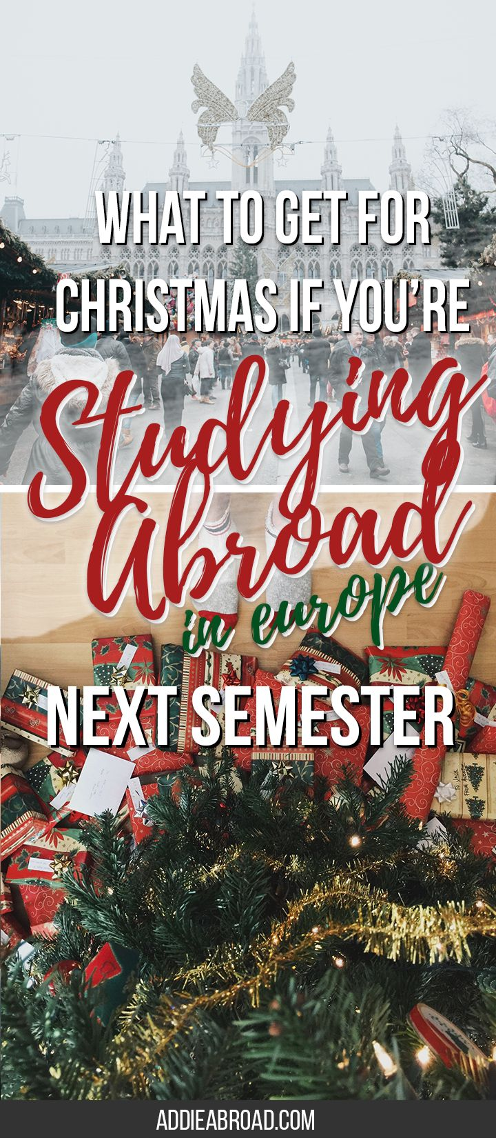 Are you about to study abroad in Europe? Don't know what to ask for for Christmas, over even what to pack for Study Abroad? Check out this great Christmas list for studying abroad in #Europe! #studyabroad via @addieabroad
