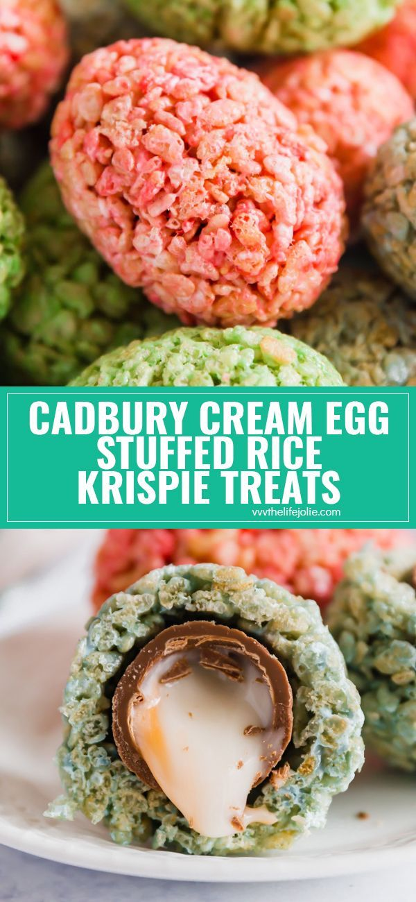 Cadbury Cream Egg Stuffed Rice Krispie Treats are a super fun Easter treat that kids and adults will go crazy for- especially when they see the delicious surprise inside! Made with marshmallows and crispy rice cereal these are not to be missed! via @thelifejolie