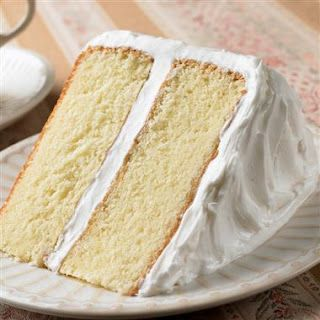 Vegan White Cake Recipe   1-1/2 cups flour 3/4 cup sugar 2 tsp baking powder 1/4 tsp salt 3/4 cup soy milk 2 tsp vanilla1/3 cup applesauce  Add the dry ingredients first and then the liquid ones. Beat the mixture for two minutes until it is well blended. Bake at 375 F 30 minutes or until you can pull out a clean toothpick.