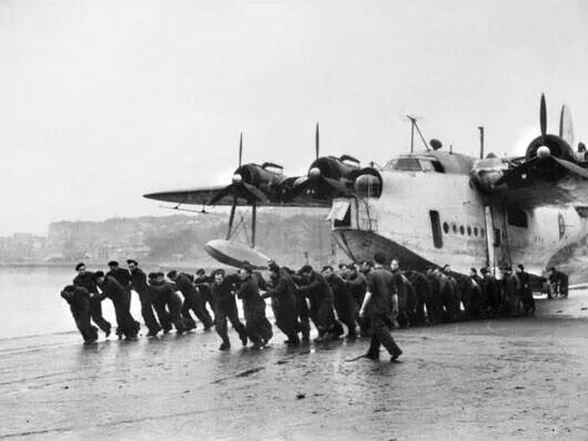 "No. 10 Squadron was in Britain before the outbreak of war to be equipped with the new Short Sunderland flying Boats. It was joined by 461 Squadron in April 1942 also equipped with Sunderlands which were nicknamed the ""flying porcupine"" by the German fighter pilots who encountered them, due to the large number of machine guns they were armed with."
