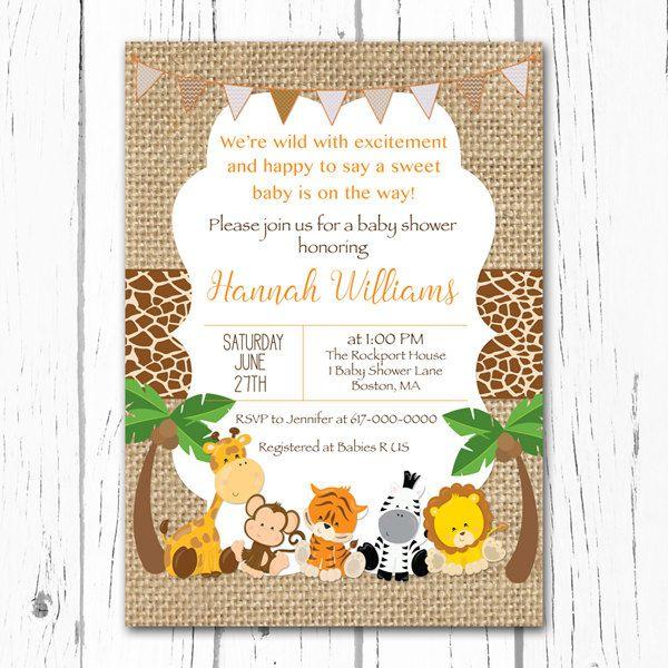 Invitación de ducha bebé Safari arpillera por DesignedbyGeorgette