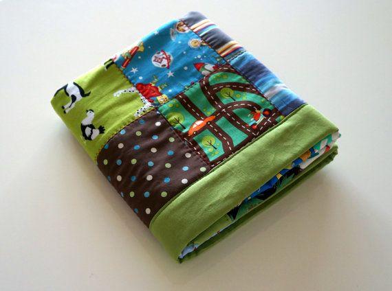 Modern Fleece Baby Quilt  Baby Blanket  Baby Boy  by mukkymonkey, €50.00