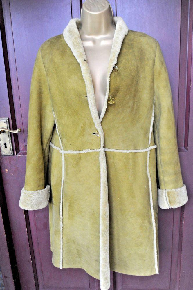 ccea10b6d63f7c BETTY BARCLAY Vintage Real Mustard/Green Sheepskin/Shearling Coat Size S