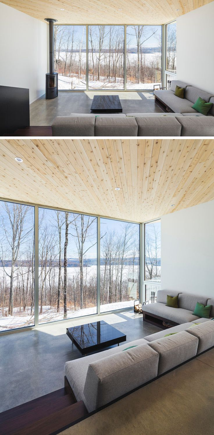 This Sunken Living Room Has Floor To Ceiling Windows That Perfectly Frame The View