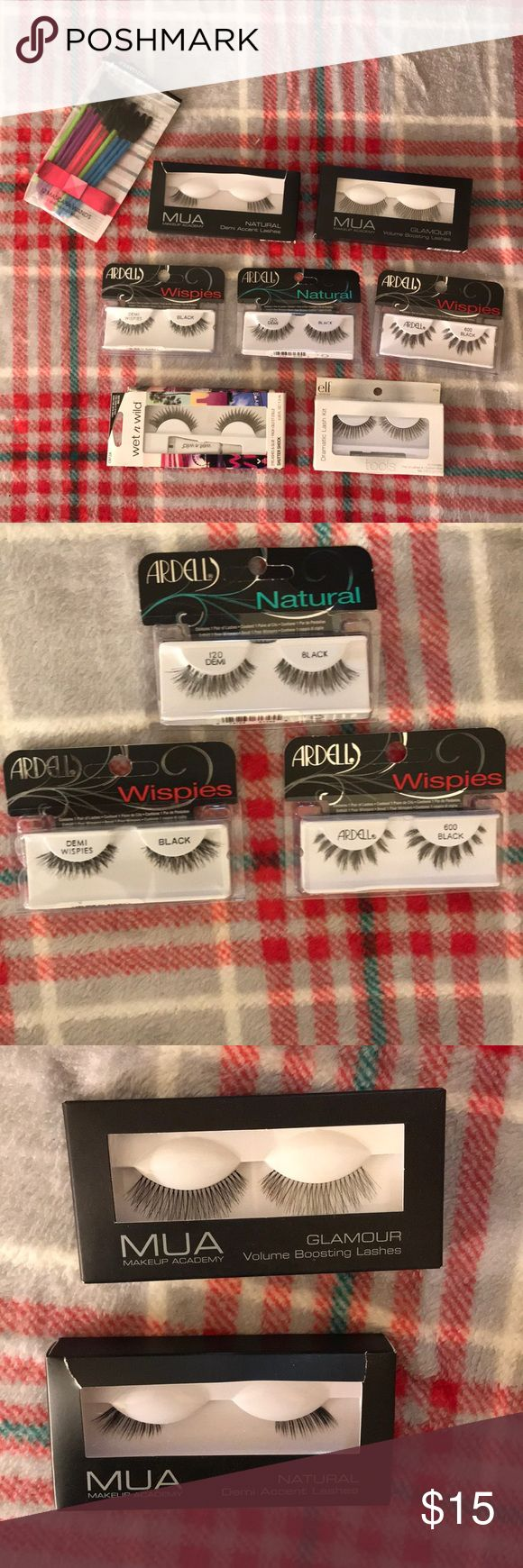 Eyelashes Bundle! ARDELL, MUA MAKEUP ACADEMY, etc. Great brands like ARDELL including the infamous Demi Wispies, as well as, Demi natural and classic black wispies. Also, MUA Makeup Academy Demi accent, and Glamour Boosting Lashes. e.l.f. Dramatic Lash Kit (1 pair lashes, 1 lash glue). Last but not least, wet n wild Shutter Shock eyelashes and lash glue included. Throwing in, as well, 12 disposable mascara wands by essential tools. Offer up! Stay beautiful gals and gentlemen 💄👄👸