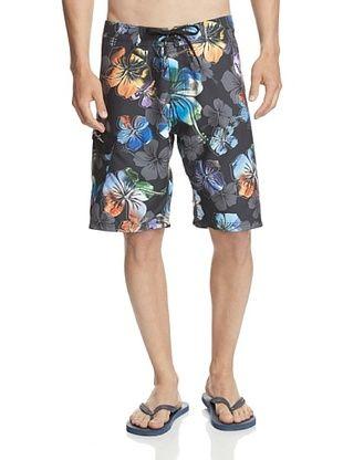 49% OFF Maui & Sons Men's Postcard Floral Boardshort (Black)