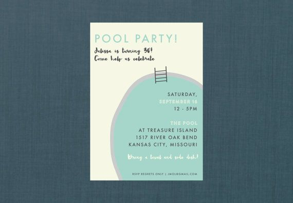 Whimsical Summer Pool Party Invitation // 5x7 by blacklabstudio
