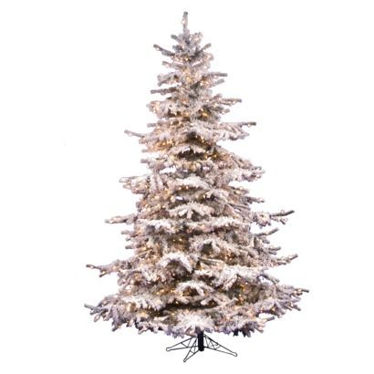 flocked sierra fir white fir artificial christmas tree with 550 clear lights with stand - 7 1 2 Foot Christmas Tree