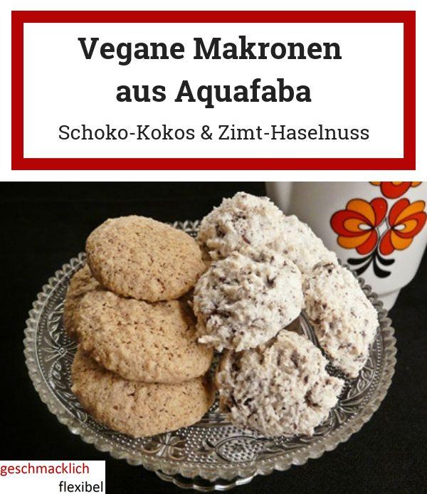 Schoko-Kokos-Makronen und Zimt-Haselnuss-Makronen – veganes Gebäck aus Aquafaba