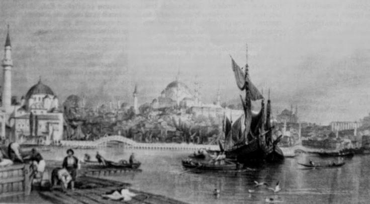 Thomas Allom Galata köprüsü gravürü.
