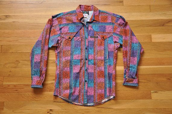 Vintage Rocky Mountain Clothing Western Tribal Cowboy Shirt //