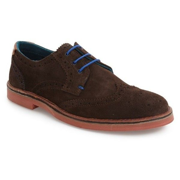 Men's Ted Baker London 'Reith' Wingtip ($175) ❤ liked on Polyvore featuring men's fashion, men's shoes, men's oxfords, dark brown, mens brogue shoes, mens wing tip shoes, mens wingtip shoes, mens shoes and mens suede shoes