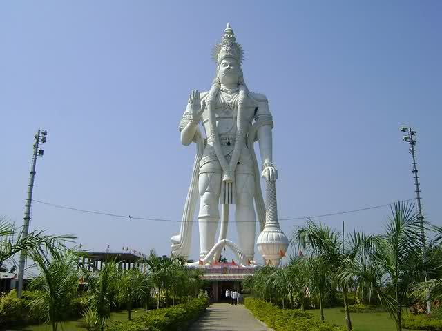 Statue: Veera Abhaya Anjaneya;  Hanuman Swami;    Depicts: Lord Hanuman;   Height: 41 m (135 ft);    Location: Vijayawada, Andhra Pradesh, India.