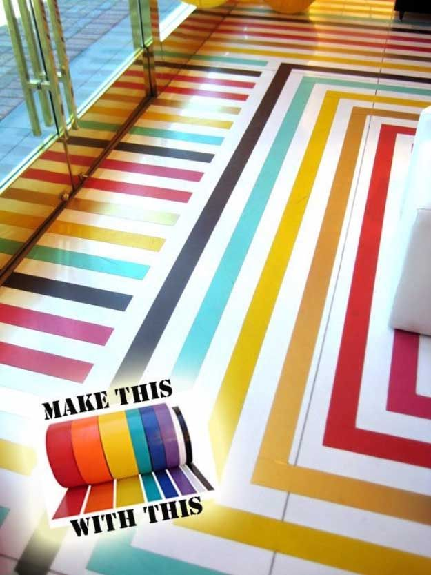 Duct Tape Crafts Ideas for DIY Home Decor, Fashion and Accessories   Colorful Duct tape flooring   DIY Projects for Teens   http://diyprojectsforteens.com/duct-tape-projects/