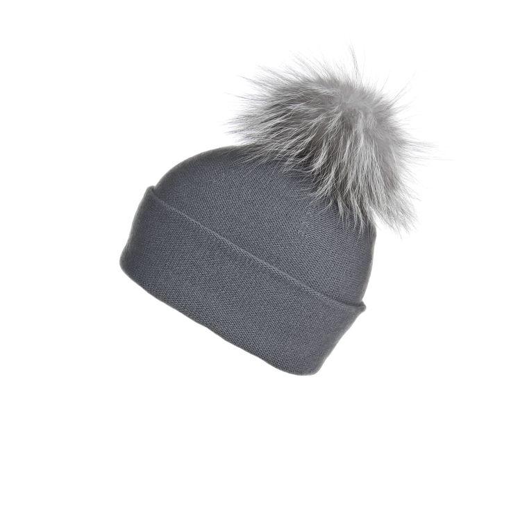 Reversible Slouchy Grey Cashmere Hat with Light Grey Pom-Pom