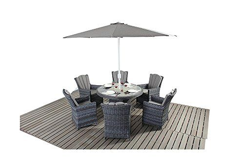 Manhattan Grey Rattan Garden Furniture 6 Seater Round Dining Table Chair Set
