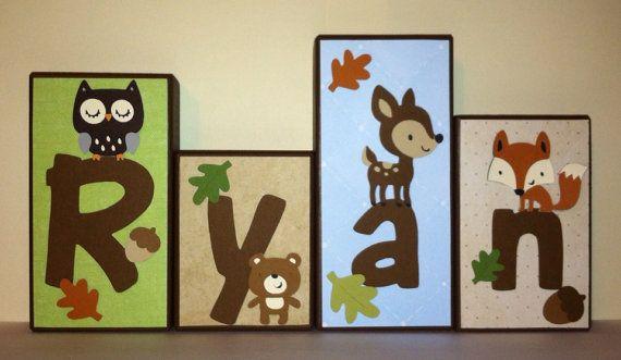Custom Wood Blocks - M2M  Carters Forest Friends bedding - Custom Wood Block Letters - Baby Letter Blocks via Etsy