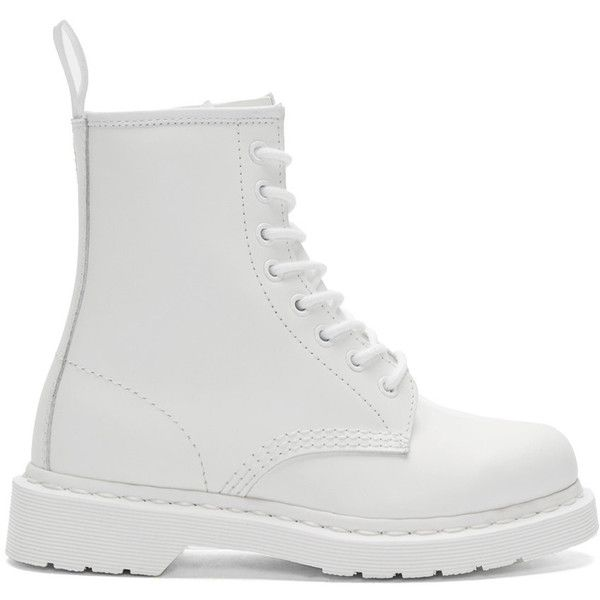 Dr. Martens White Eight-Eye 1460 Mono Boots (520 BRL) ❤ liked on Polyvore featuring shoes, boots, ankle booties, white, round toe booties, white boots, dr martens boots, leather boots and ankle length boots
