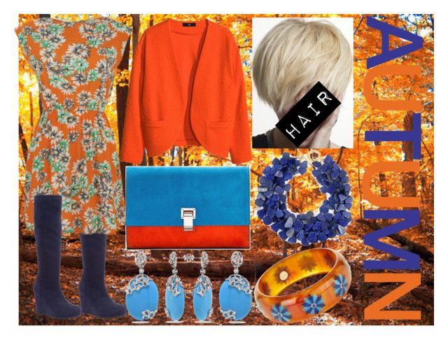 AUTUMN (BLUE AND ORANGE) by slytheriner on Polyvore featuring Madam Rage, H&M, John Lewis, Proenza Schouler, Sissy Yates, Mark Davis and Allurez