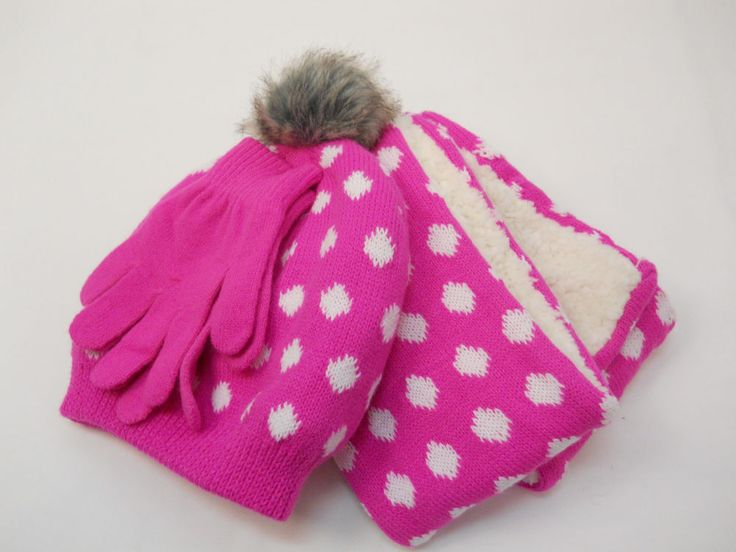 Girls 3 PC Knit Set Scarf Hat Gloves Pink Polka Dot Print One Size Shearling #FadedGlory #3PCHatScarfGloveSet
