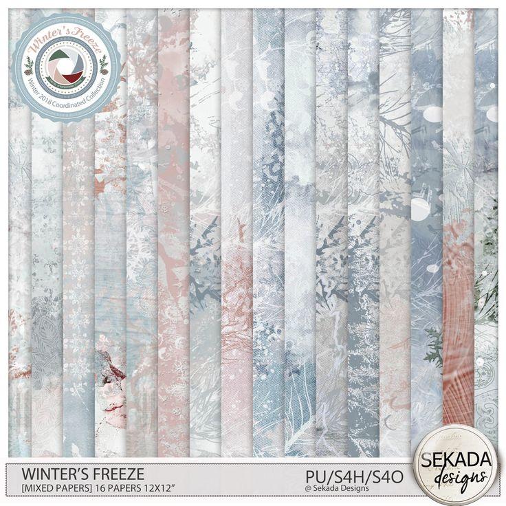 Digital Art :: Paper Packs :: Winters Freeze [Mixed Papers] by Sekada Designs