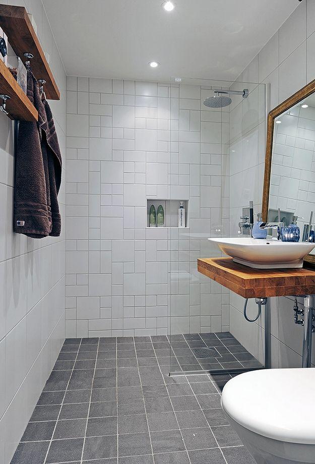 Shower wall, tile pattern, grey tile floor