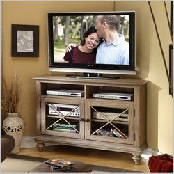 Riverside Furniture Coventry Corner TV Console in Weathered Driftwood