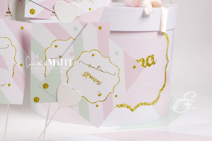 "INVITATII BOTEZ "" MINT & FLOWERS "" MADE BY CORINA MATEI - WWW.C-STORE.RO"