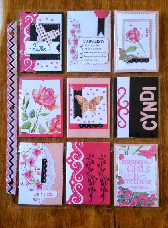 AnnMarie's Stamping Adventures!!- It is kind of a hodge podge  of pink, floral and sparkle! - Pocket Letter