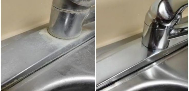Vinegar Helps Remove Hard Water Lime Stains from Faucets or Taps, etc. Lay a cloth soaked in vinegar on the calcium deposits for an hour. Scrub off the loose stuff. Repeat if necessary.