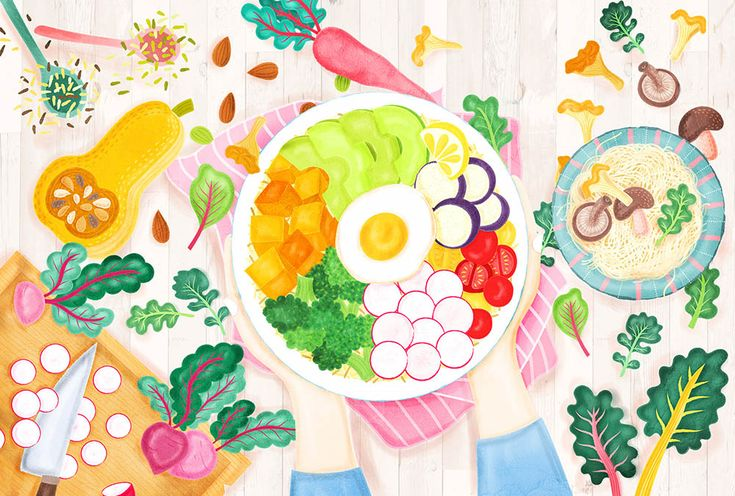 Buddha Bowl Illustration by Liv Wan Illustration. Very cool and very pretty