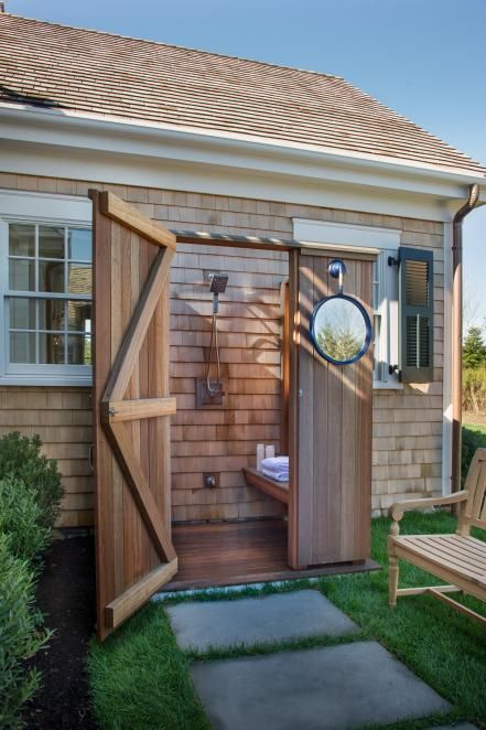 Rinse off a day at the beach in this luxurious and practical mahogany outdoor shower hidden off the main patio.