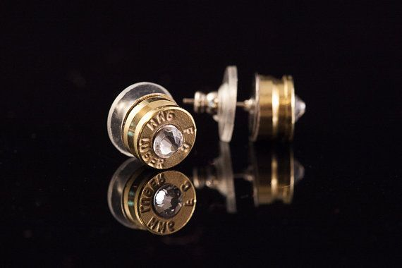 """Bullet Earrings-Signature 9mm Bullet Stud Earrings-Brass-Gold, """"Get Your Bling On""""-Free US and Canada Shipping on Etsy, $30.00"""