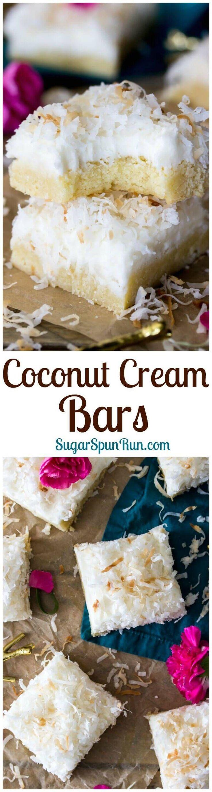 Coconut Cream Bars via @sugarspunrun