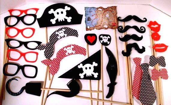 XL 27 Piece Pirate Party Props Pirate Theme Photo Booth Pirate Props - Ready to Ship on Etsy, $42.00