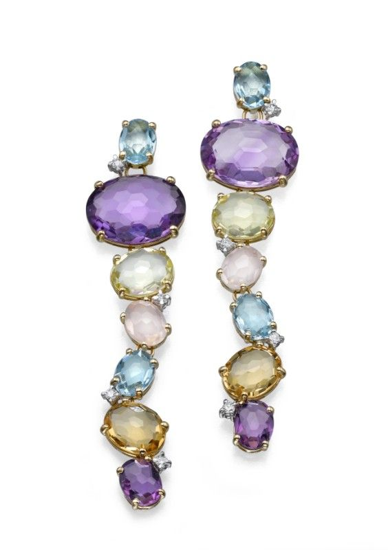 NANIS ~ A 18k yellow gold earrings set with precious stones and diamonds