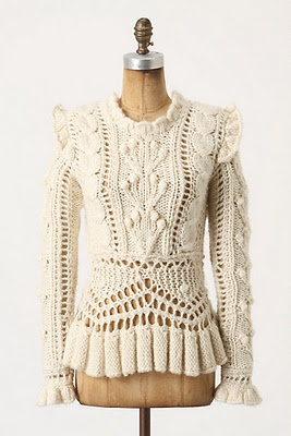 Bobbled cableknit sweater by Anthropologie