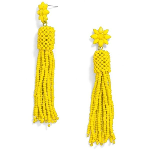 BaubleBar 'Rooney' Tassel Drop Earrings ($34) ❤ liked on Polyvore featuring jewelry, earrings, yellow, beaded earrings, lucite earrings, yellow stud earrings, floral earrings and post earrings